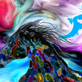 Wild Horse racing the clouds by Abstract Angel Artist Stephen K