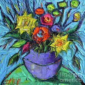 Mona Edulesco - WILDFLOWERS BOUQUET ON GREEN TABLE - Impasto Palette Knife Oil Painting - Mona Edulesco