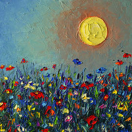 Ana Maria Edulescu - Wildflowers Meadow Sunrise Modern Floral Original Palette Knife Oil Painting By Ana Maria Edulescu