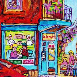 Wilensky Deli Dinner For Two Montreal Art Paintings Of Montreal C Spandau Montreal Street Scene Art  by Carole Spandau