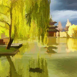 Willow Tree In Liiang China II Painterly  by Linda Brody