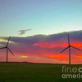 Wind Turbines in the Sunrise				 by Bob Lentz