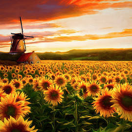 Windmill in the Sunflower Fields Painting by Debra and Dave Vanderlaan