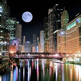 Windy City River Moon by Frozen in Time Fine Art Photography