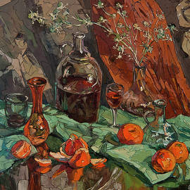 Wine and Mandarin by Sergey Sovkov