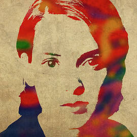 Winona Ryder Watercolor Portrait - Design Turnpike
