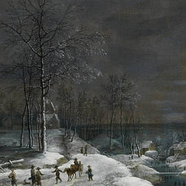 Lucas van Uden - Winter landscape with snowy water mill and figures