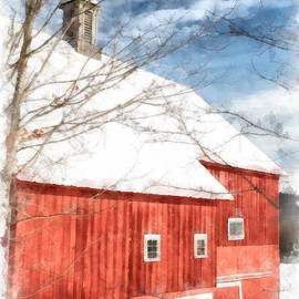 Winter on the Farm Red Barn Newport New Hampshire - Edward Fielding