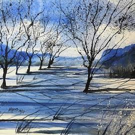 David K Myers - Winter River Watercolor