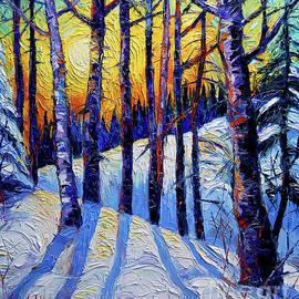 Mona Edulesco - WINTER WOODLAND SUNSET modern impressionism palette knife oil painting