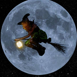 Witch flying at full moon. by Maggie Mccall