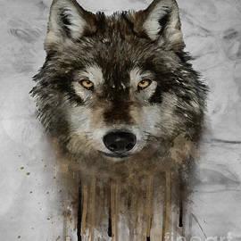 Wildlife Fine Art - Wolf drip Painting