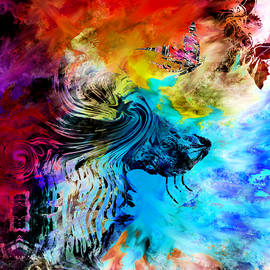 Wolf playing with butterflies by Abstract Angel Artist Stephen K