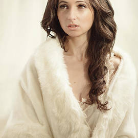 Woman In Fur Wrap Wearing Crown - Amanda Elwell