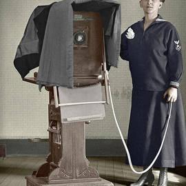 Woman photographer with large camera 1900 by Martin Konopacki Restoration
