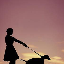Woman Walking Her Dog - Amanda Elwell
