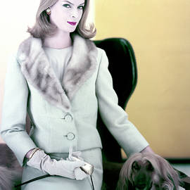 Woman With Afghan Dog by Henry Clarke