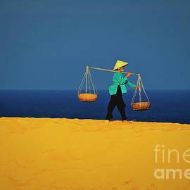 Women Walking Along The Red Sand Dunes Of Mui Ne In Vietnam, Southeast Asia by Sam Antonio Photography