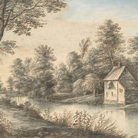 Lucas van Uden - Wooded Landscape with a House beside a River