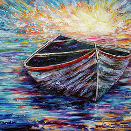 Lena  Owens OLena Art - Wooden Boat at Sunrise