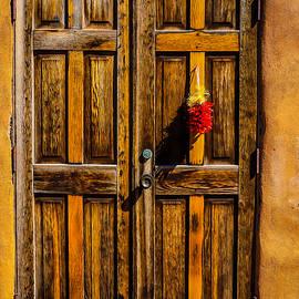 Wooden Door With Red Chiiles - Garry Gay