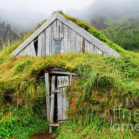 Wooden house isolated with grass in Iceland by Patricia Hofmeester