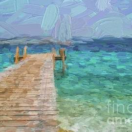 Wooden jetty and boat by Patricia Hofmeester