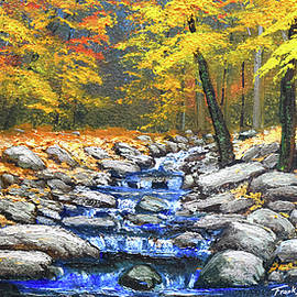 Woodland Brook In Autumn by Frank Wilson