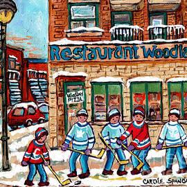 Carole Spandau - Woodland Pizza Montreal Verdun Winter Scene Painting For Sale Original Hockey Artwork C Spandau Art