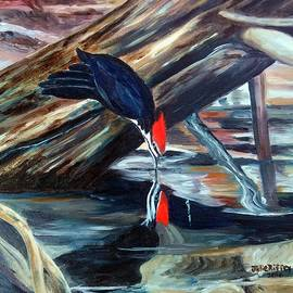 Julie Brugh Riffey - Woodpecker Sipping Water