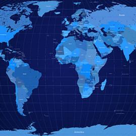 World Map in Blue by Michael Tompsett