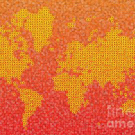 Eleven Corners - World Map Kotak in Yellow Orange and Red