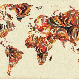 World Map Organic Brush Strokes - Irina Sztukowski