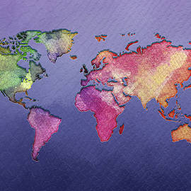 World Map -  Watercolor by Ericamaxine Price