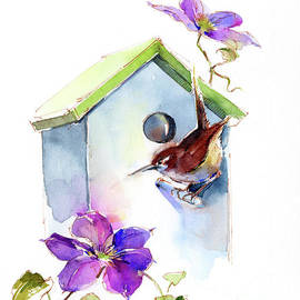 John Keeling - Wren with birdhouse and Clematis