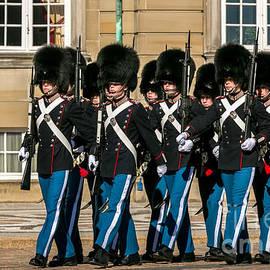 Royal Life Guards in front of Amalienborg Palace, Copenhagen, Denmark by Kim Petersen
