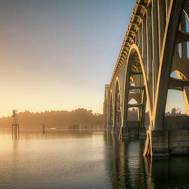 Yaquina Bay Bridge - Golden Light 0634 by Kristina Rinell