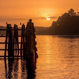 Yaquina Bay Sunset - Vertical II by Kristina Rinell