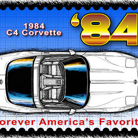 Year-by-year 1984 Corvette Postage Stamp by K Scott Teeters