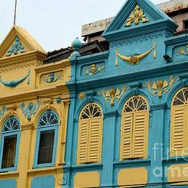 Imran Ahmed - Yellow and blue art deco Peranakan colorful architecture houses Hat Yai Thailand