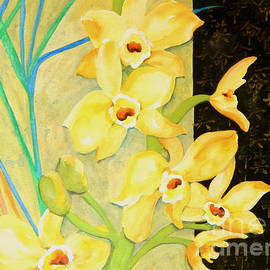 Sharon Nelson-Bianco - Yellow Orchids With Black Screen
