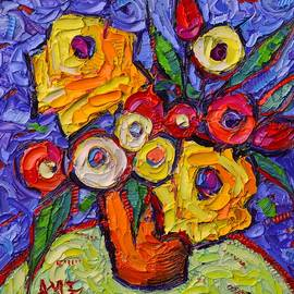 Ana Maria Edulescu - YELLOW ROSES AND WILDFLOWERS abstract impressionist impasto knife oil painting by ANA MARIA EDULESCU