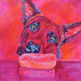 Dog and pink donut by Karin McCombe Jones