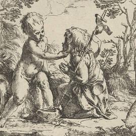 Young Saint John the Baptist kneeling before the infant Christ - Guido Reni