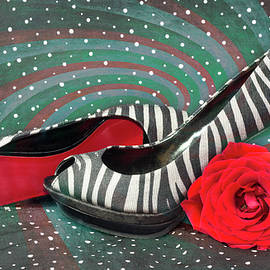 Zebra Peep Toes with Red Rose by Patti Deters