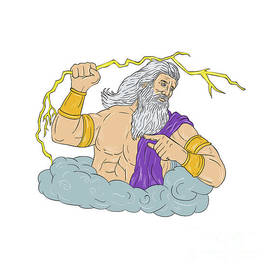 Aloysius Patrimonio - Zeus Wielding Thunderbolt Lightning Drawing