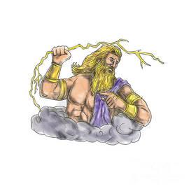 Aloysius Patrimonio - Zeus Wielding Thunderbolt Lightning Tattoo