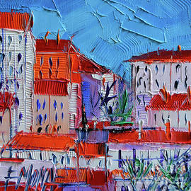Mona Edulesco - Zoom on Croix-Rousse - Lyon France - Palette Knife Oil Painting by Mona Edulesco