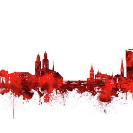 zurich skyline watercolor red - Bekim Art