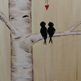Birch Tree Love Birds by Kathy Carlson